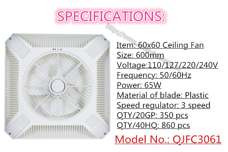 Ceiling Exhaust Fan 600600mm With Remote Control For