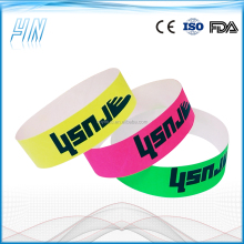 YN - 4100 Custom tyvek wristbands with bright color ,waterproof paper wristbands with serial numbering for events