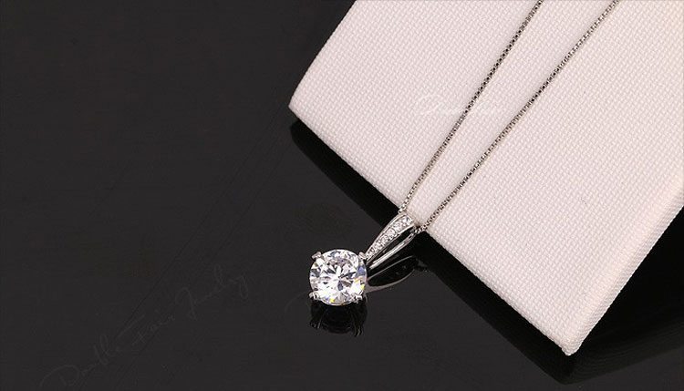 Trending Hot Products Crystal Wedding Jewelry Pendants Rose Gold Color Cubic Zirconia Chain Necklaces