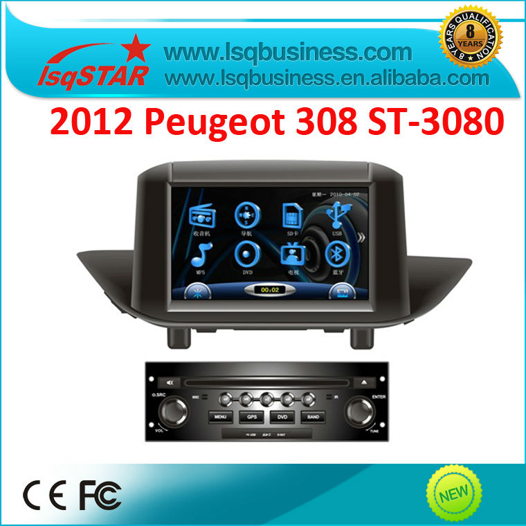 2012 Peugeot 308 Car DVD GPS with Radio ipod bt TV Steering MFD support with Canbus USD SD...