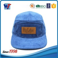 Wholesale blank flat brim Corduroy snapback hats with leather logo patch