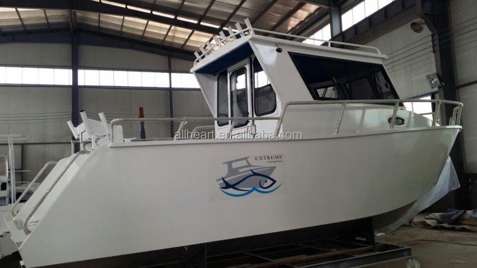7.5m aluminum cabin fishing boat building with twin outboard