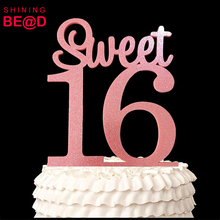 Happy 16th Birthday Acrylic Cake Topper Sweet 16 (Glitter Pink) good for girl's birthday