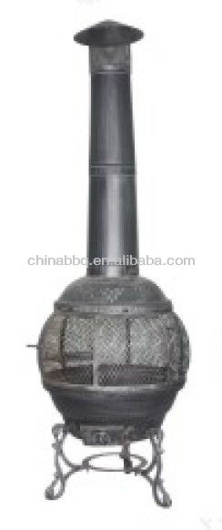 cast iron chiminea with bbq grill