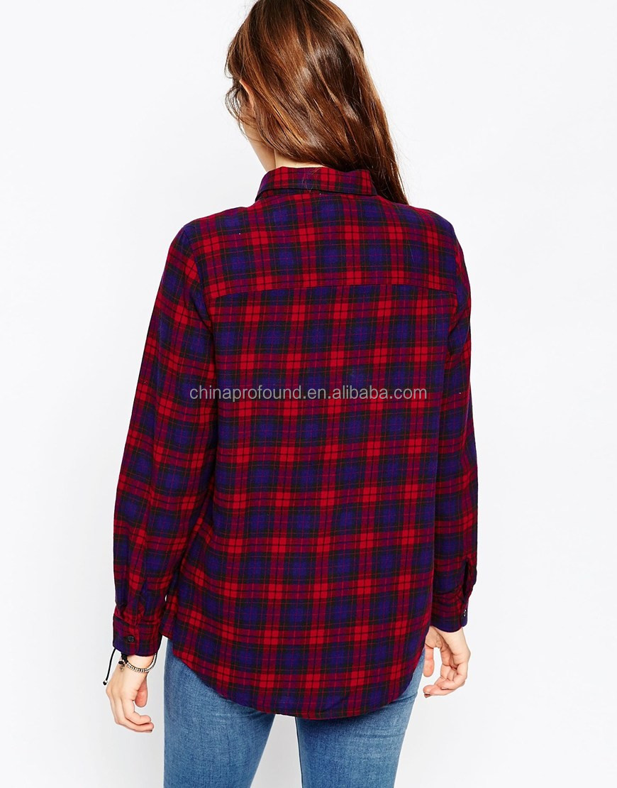 2016 latest stylish new designs boyfriend style oversized blouses plaid flannel shirt for women