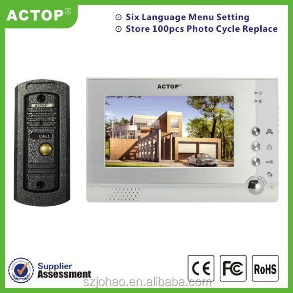 Hot Sale ACTOP 7inch touch screen super thin design video door phone intercom