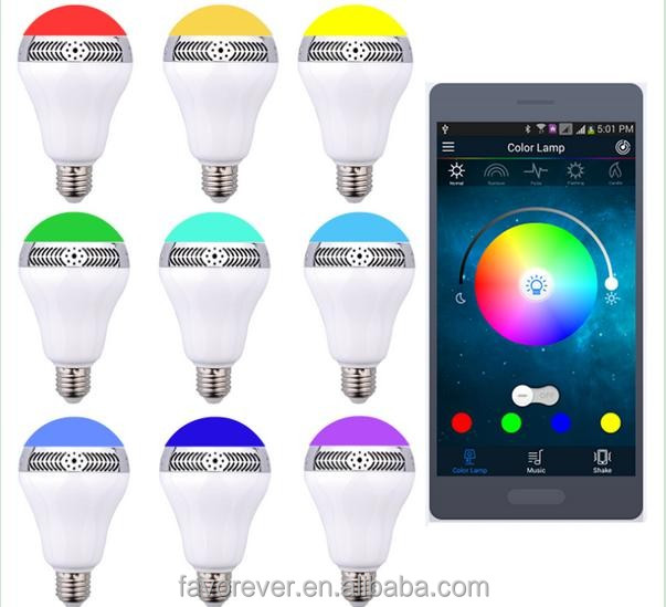 Colorful music speaker multi color flashing light bulbs in 2016