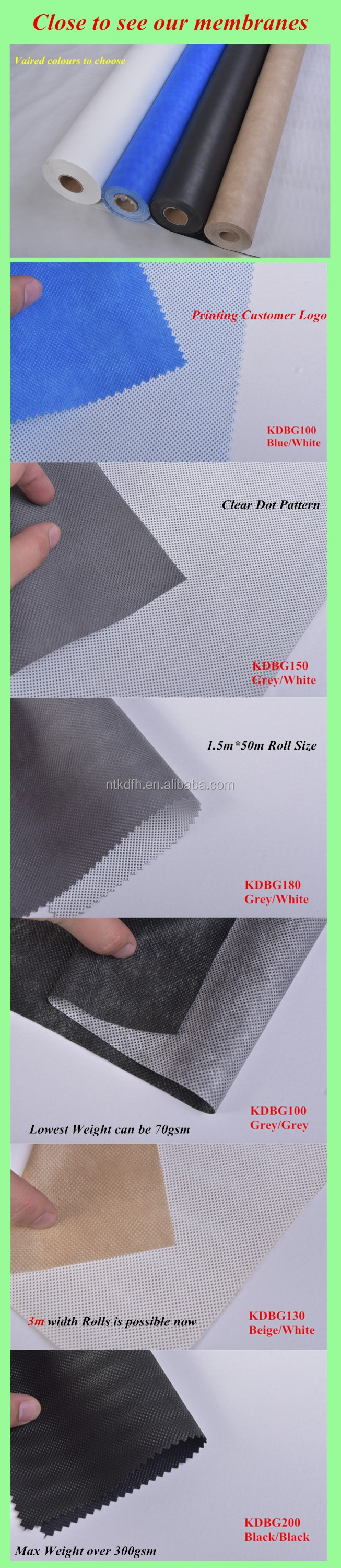 Waterproof Moisture Permeable Breathable Membrane for Roofing Underlay