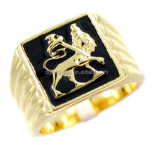 2015 new design stainless steel 18K gold lion of judah ring