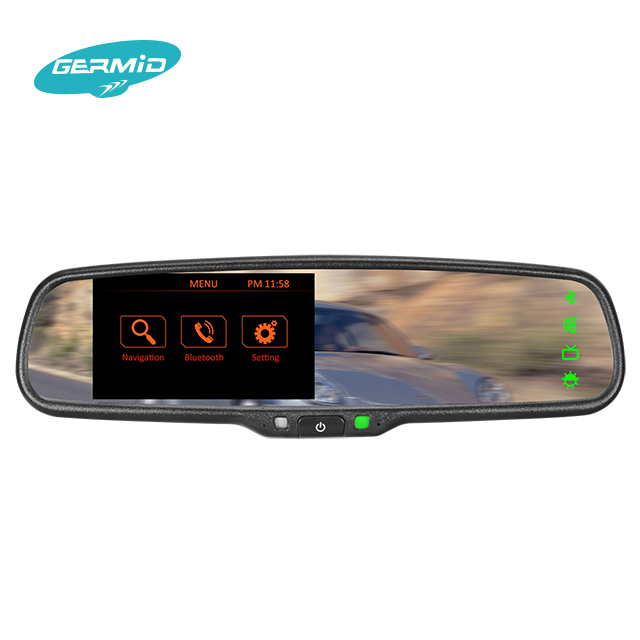 electric rearview mirror Bluetooth Rearview Mirror with Built-in GPS Navigation and 4.3 Inch listening devices, car reverse cam