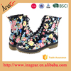 the fashion dress cheap rubber and flower printer pu women and ladies boots