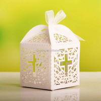 Cross Laser Cut Favor Box Christening Baby Shower Bomboniere Favor with Ribbon