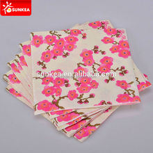 Chinese style printed flower paper napkin