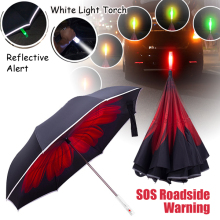Double Layer Inverted Umbrella with LED light Handle Reflective Stripes Cars Reverse Umbrella Rain & UV protection windproof
