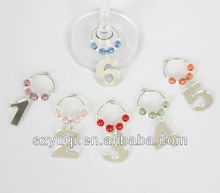 Mirror acrylic number wine glass charms