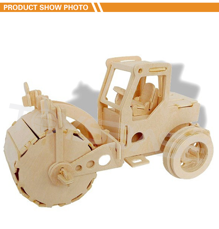 Educational Toys Customized DIY Road Roller 3d Wooden Jigsaw Puzzle