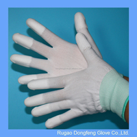 Industrial Garden Worker Stretchy PU Covered Finger Gloves