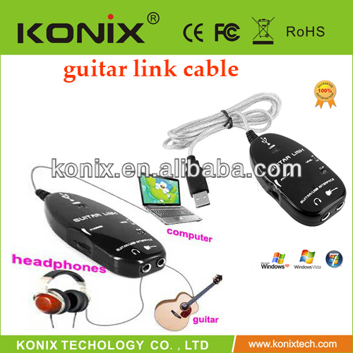 Guitar Bass To USB Link Cable Adapter for PC/MAC Recording