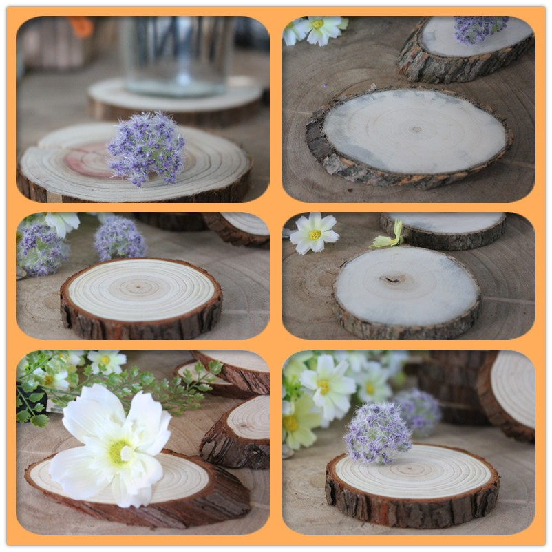 Round Wood Log Slices Natural Tree Bark Table Decor Wedding Centerpiece