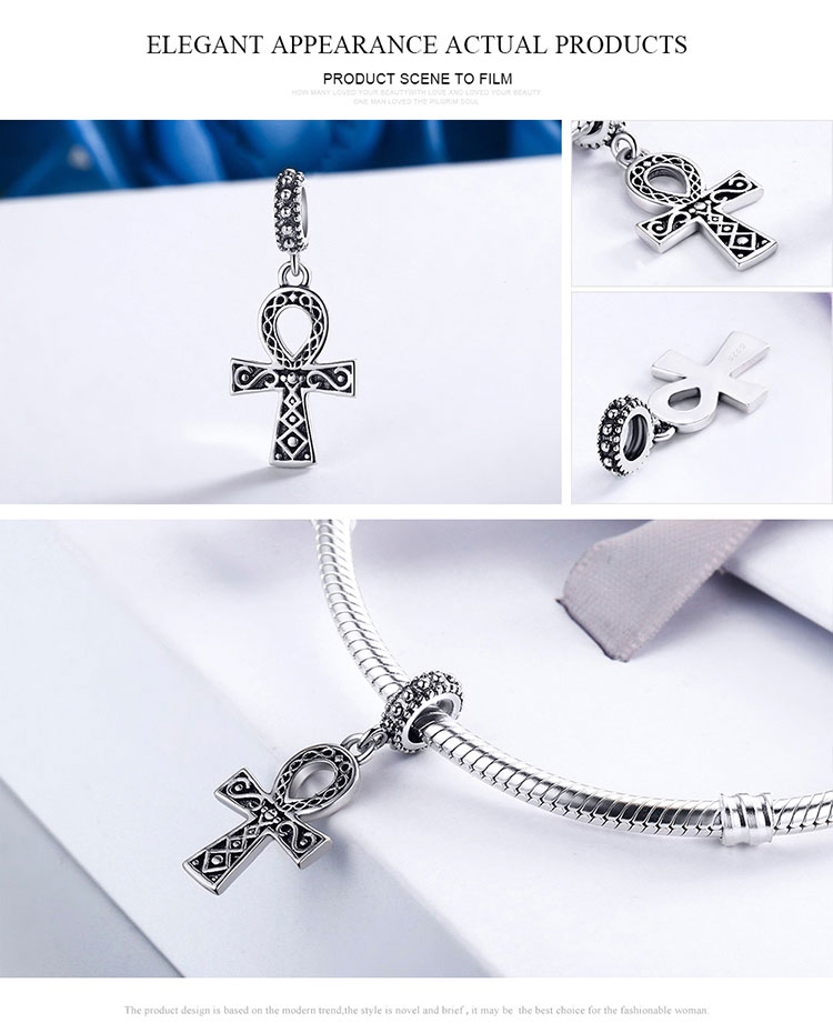 Klein Jewelry Authentic 925 Sterling Silver Classic Power of Faith Cross Dangle Charms Fit Bracelets DIY Jewelry Making S925