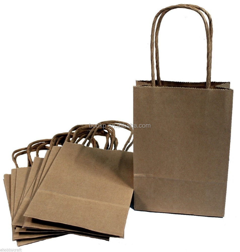 custom recycled christmas brown paper gift bags / Craft Gift Handle Bags
