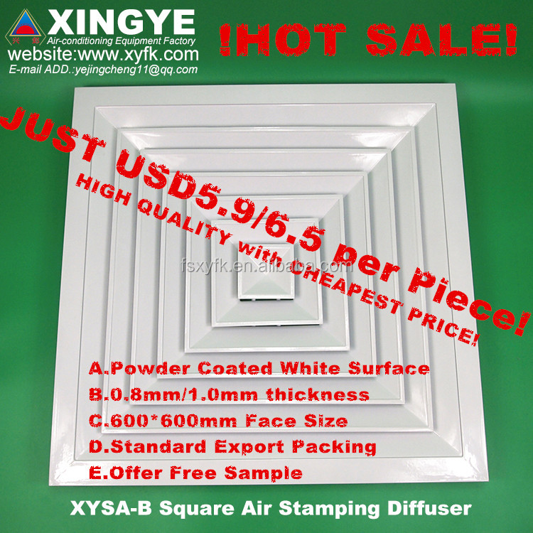 HVAC air conditioner aluminium alloy ceiling square air diffuser conditioning linear grilles diffusers XYSA-B600