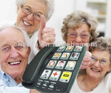 Amplified picture telephone with big button for elderly