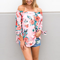 Floral Print Off The Shoulder Women Top