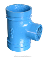 FM UL Approved ductile iron Grooved Pipe Fitting reducing tee, Apply to Water Supply and Sewerage Works