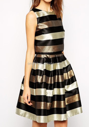 Sexy Short Flare Metallic Stripe Skater Dress for petite size ladier