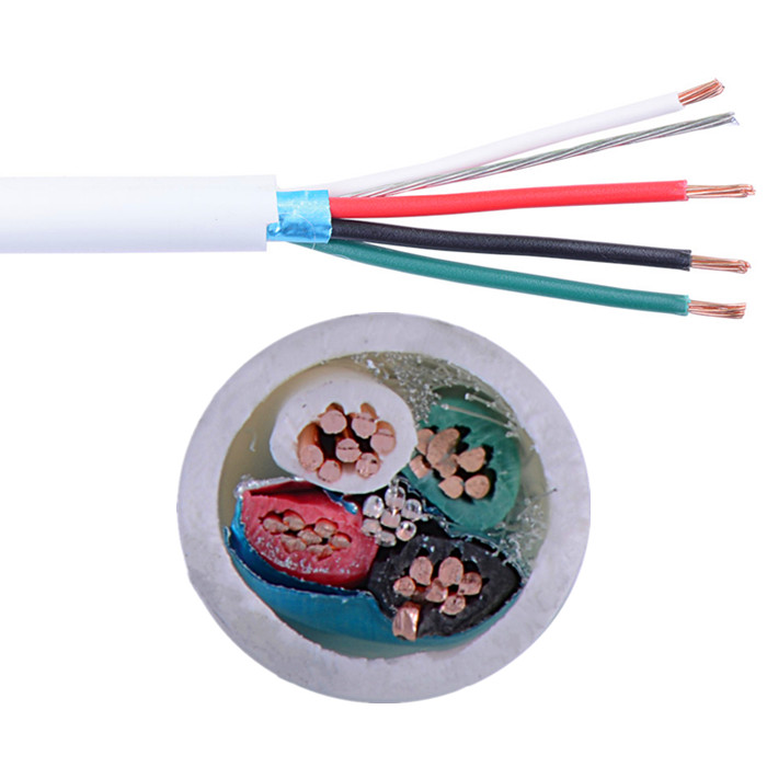 4 core shielded alarm cable white