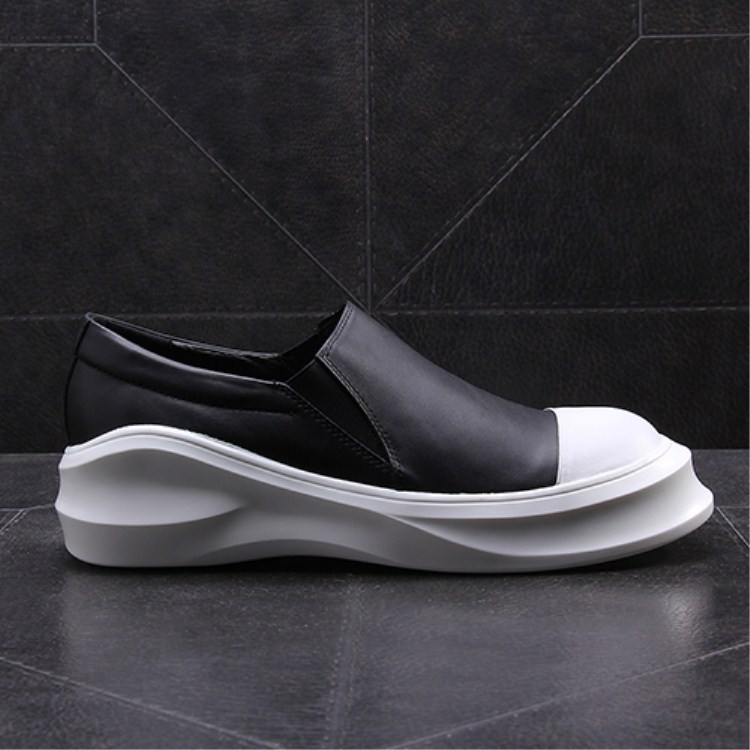 Spring Fashion Style Thick Platform White Rubber Sole Unisex Full Grain Leather Casual <strong>Shoes</strong> Wholesale