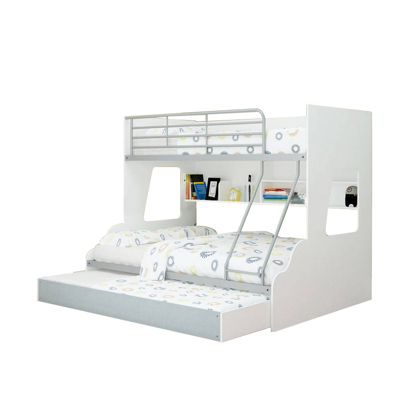 New Single Over Double Trio Bunk Bed With Shelves Trundle Storage
