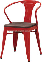 French modern invange metal cafe bistro chair with wooden seater (FOH-BCC07)