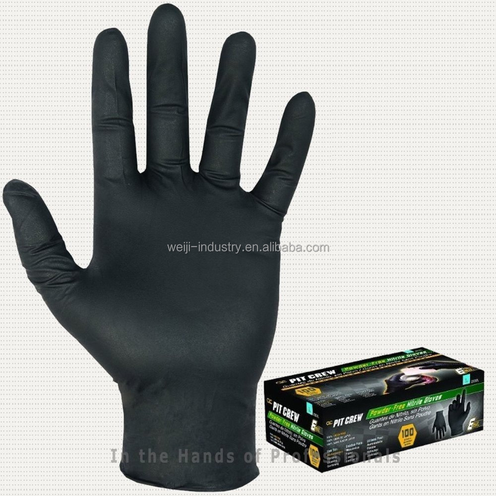 Black disposable nitrile glove / nitrile examination gloves latex free