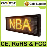 Free shipping CE approved outdoor led sign panel with yellow color and multi-language