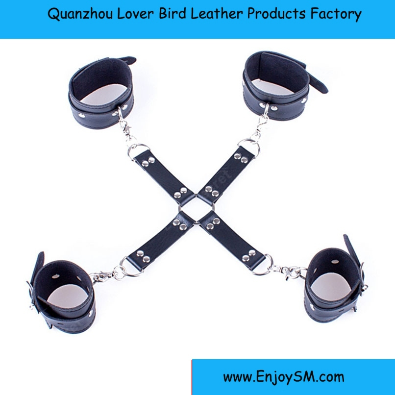 PU Leather Cross Wrist Ankle Cuffs Adult Games Cosplay Fetish Bondage Restraints Hand Cuffs Leg Cuffs sex bondage restraint Sex