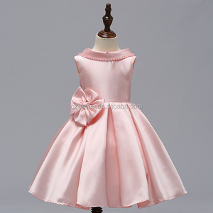 Guangzhou Garments Wholesaler Girls Princess Party Wear Hot Sale Birthday Dresses Pink Appliqued Children