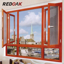 wood grain Aluminum casement frame window french swing window low price