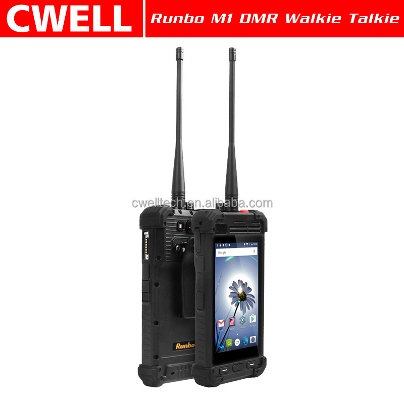 Runbo M1 DMR UHF VHF walkie talkie radio optional Waterproof mobile Rugged Smartphone IP67 Quad Core Glonass A-GPS NFC