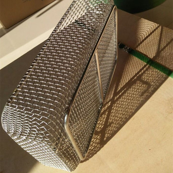 Food grade 304 stainless steel woven frying fruit storage wire mesh basket