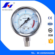 Durable Light Weight Cheap Normal Gaseous Liquid 0-30psi 0-2kg/cm2 63mm Full Stainless Steel Pressure Gauge
