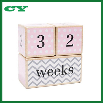 Perfect Baby Shower Gift and Keepsake Solid Wood Milestone Age Blocks Baby Age Photo Blocks
