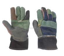 mixed color cow split cheap leather working gloves