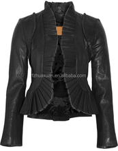 women's front ruffle genuine leather pu motorcyle jacket