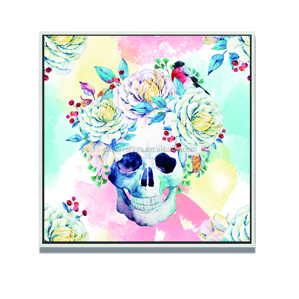 Modern Abstract Canvas Wall Art Colorful Skull White Rose And Birth Picture Print On Canvas With Black Wood Frame Wall Decor