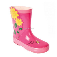 sweety shinny decal rubber boots,wholesale cheap colorful flower pattern cute gum rainboots kids