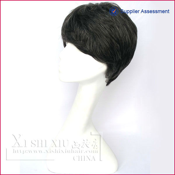 Hot popular fashion design human hair short curly wig for black women
