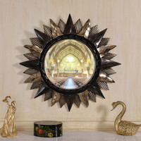 PU36112 Fond Art Polyresin Round Wall Framed Mirror