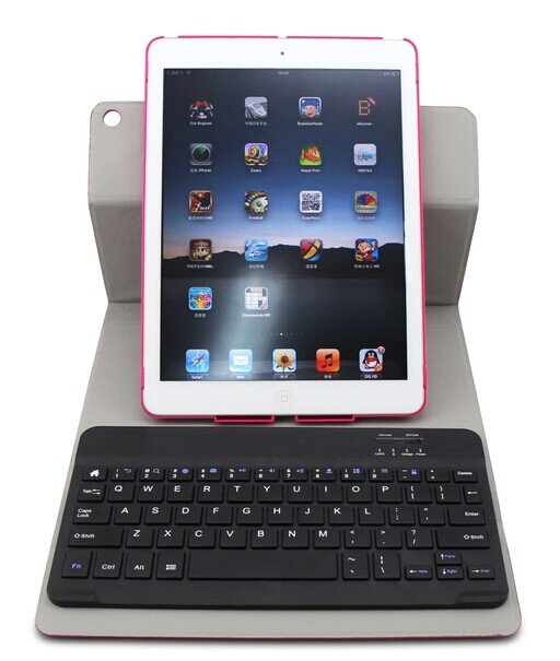 hot seller detachable chocolate key cap bluetooth keyboard and swivel case combo for ipad 5 or air